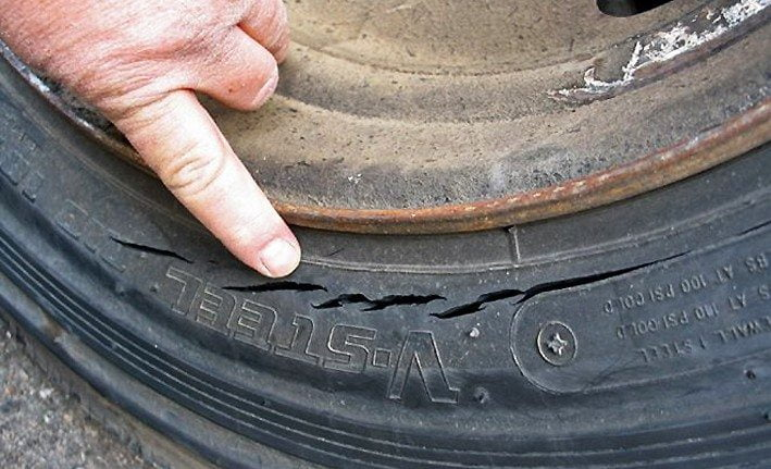 tyres overloaed cracked