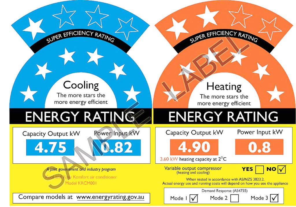 aircon-reverse-cycle-10star good. Caravan air conditioning requires a high rating.