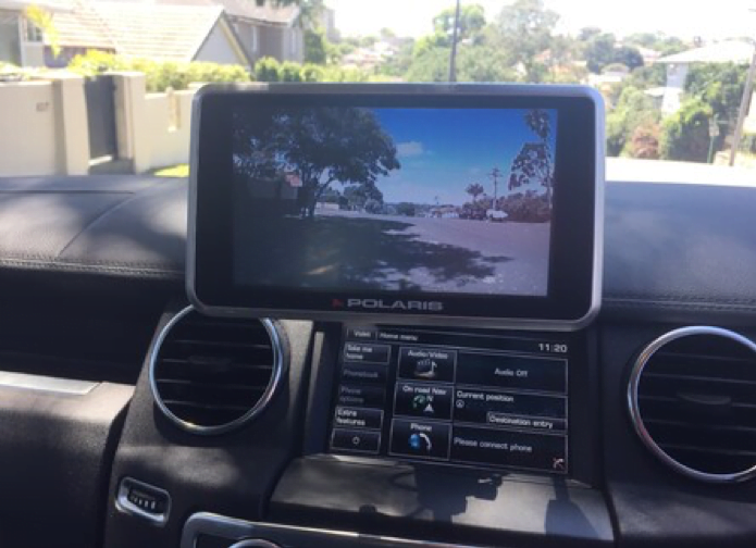 Rear vision camera mounted on the dashboard